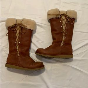 UGG Brown Upside Lace Up Boots Size 8